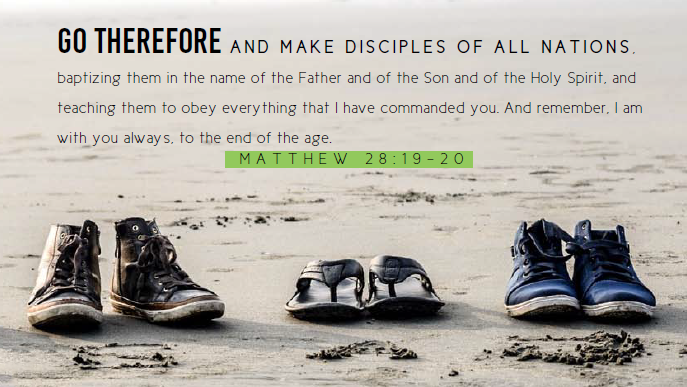 image of shoes on the beach with the text of Matthew 28:19-20 as caption